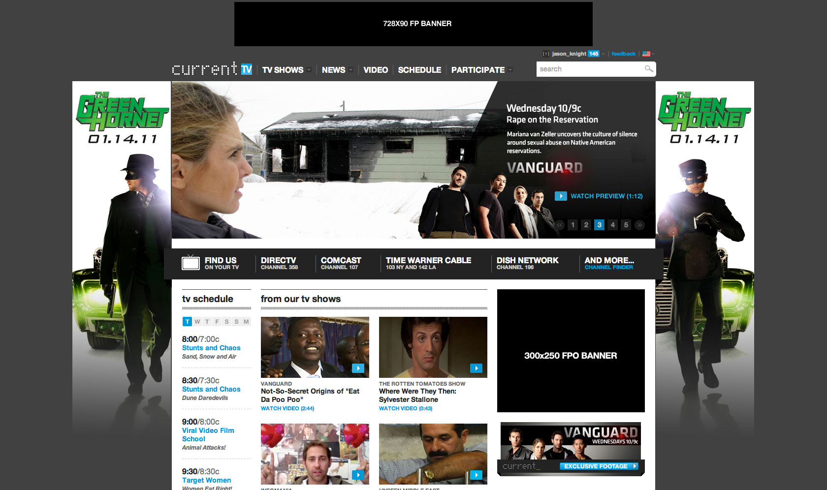 Green Hornet Homepage Takeover